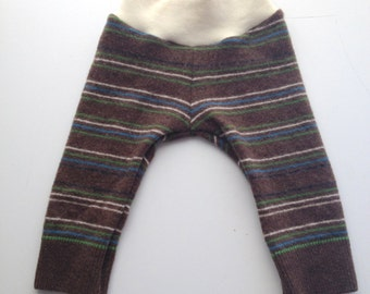 Medium Diaper Cover Wool Longies - brown and Green Striped Recycled Wool Longies