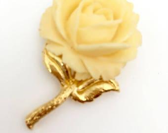 Vintage Trifari Molded Plastic Rose Flower Pin Brooch New Old Stock