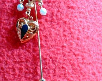 Heart Locket Faux Pearl Dangle Hat Pin