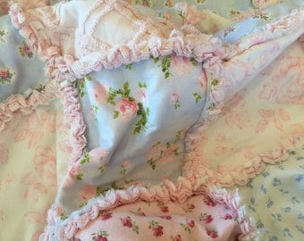 Shabby Chic baby or lap rag quilt  with vintage chenille