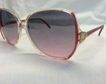 Oversize Sunglasses, Vintage 1970s Gradient Lens Sunglasses in Red and White, European Sunglasses Women's Sunglasses Pink Rose Hombre Lens