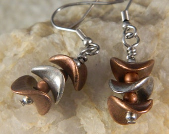 Silver and Copper Spacer Dangle Earrings