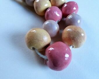Artisan made ceramic beads - set of 12 - Bubble gum colors