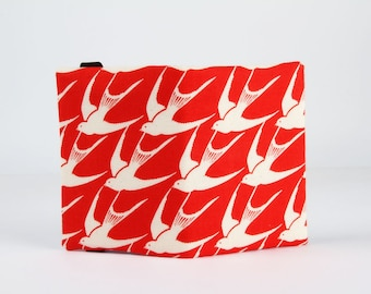 Fabric card holder - Flock in red / Cotton and Steel / Japanese fabric / Rashida Coleman Hale / swallows / Bluebird / Red / blue letters