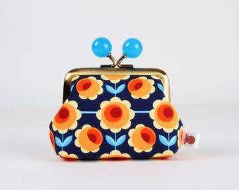 Metal frame coin purse with color bobbles - Blossom blau - Color mum / Retro flowers / orange red yellow blue