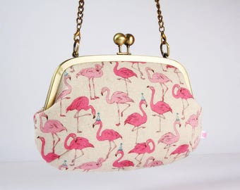 Metal frame purse with shoulder strap - Party flamingo - Swing purse / Japanese fabric / pink turquoise blue / hats
