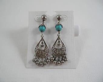 Silver Tone Chandelier Turquoise Bead Vintage Earrings