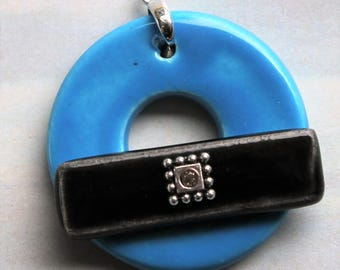 Turquoise and Black Toggle Clasp - Jewelry Clasp - Large Ceramic Circle Focal Toggle Clasp - Pottery Clasp - Clay Clasp