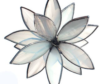 Clear and Wispy White Stained Glass 3D flower - Suncatcher -  In Full Bloom