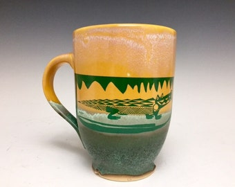 Coffee Mug; The Happy Green Florida Gator