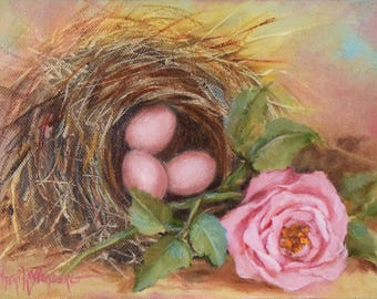 Whimsical Bird Nest Painting IV,Still Life Art,Pink Eggs And Pink Rose Painting,Original Fine Art Oil Painting by Cheri Wollenberg
