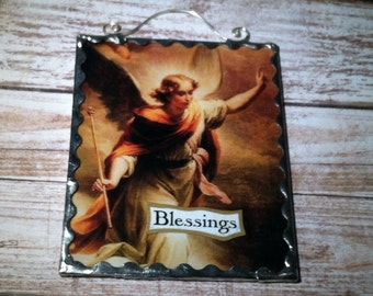 Angel Blessings Plaque Vintage Angel Image Framed In Glass With A Decorative Soldered Edge
