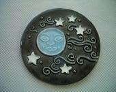 JGL - INTRICATE MOON w Stars - Ceramic Mosaic Tile or Magnet