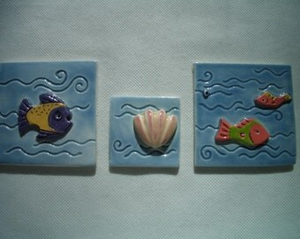 PLA - COLORFUL FISH  Tiles - Ceramic Mosaic Tiles or Magnets