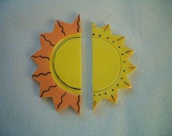 SUN2 - 2 Embellished HALF SUNS - Ceramic Mosaic Tile