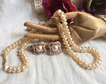 Vintage golden pearl strand clip earrings, sterling clasp pearl necklace clip earrings, faux pearl crystals clip earrings, 2 piece necklace