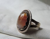 navaho agate ring scalloped bezel sterling silver