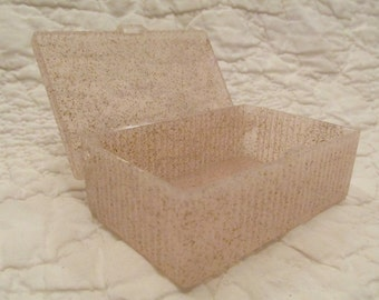 Vintage Storage Box Plastic Pink with Gold Speckles