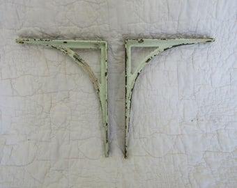 Antique Cast Iron Brackets Set Shabby light green paint