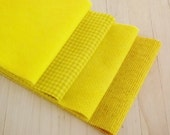 """Hand Dyed Wool Felt, DAFFODIL, Four 6.5"""" x 16"""" pieces in Bright Yellow, Perfect for Rug Hooking, Applique', and Crafts"""