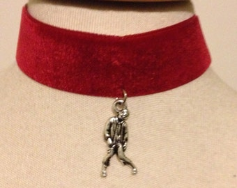 SALE red velvet choker with zombie charm
