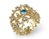CORAL Gold Blue Topaz Ring, RESERVED for Jack