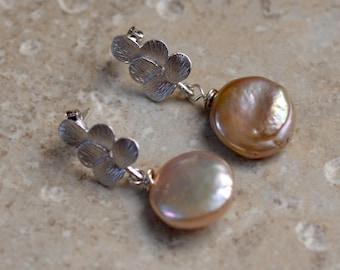 Pearl Silver Posts. Hazelnut Keishi Button Pearl on a Leaf.  Fresh Water Pearl Minimalist Earrings. Mixed Metal. Wedding Jewelry.