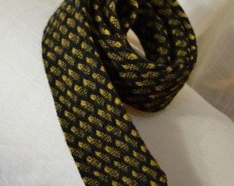 Sale Skinny Wool Necktie Gold n Black 60s Tie