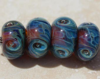 SUMMER STORM Artisan boro beads by JRG