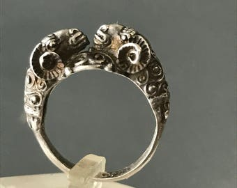 Reserved for DS - Antique double Rams head Ring . 900 silver jewelry -1st payment