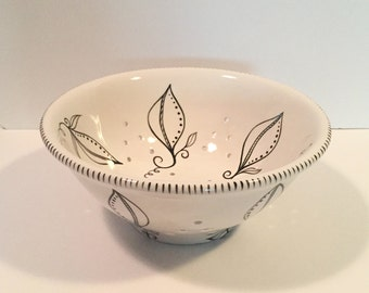 hand painted black and white ceramic berry bowl