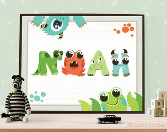 Personalized Kid Name Monster Alphabet Art Print 10x8 inch