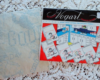 Vogart Vintage Transfer Pattern No 659 UNUSED Seven Lucky Kittens for Kitchen Towels with Instructions