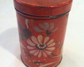 Vintage  Hand-painted Persimmon, Floral Metal Shaker by Barneche Design/Stephanie Barnes Studio