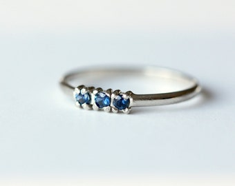READY to SHIP - 14k Recycled White Gold and Sapphire Band - 3 Stone Ring -Wedding Band - Dainty Stacking Ring