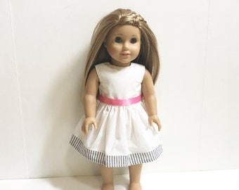 18 Inch American Made Girl Doll Clothing - White Party Dress