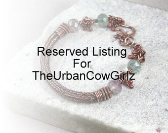 Reserved Listing For TheUrbanCowGirlz, Copper Fluorite Viking Knit Bracelet, Charm Bracelet, Dangle Bracelet, Antique Copper Bracelet