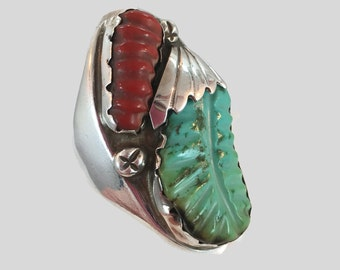 Turquoise Ring, Native American, Red Coral, Sterling Silver, Navajo, Carved Feather, Mens Mans, Size 11, Carved Stone, Big Huge, Large