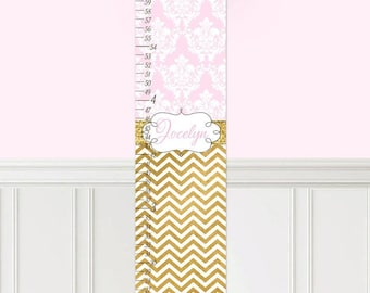 Canvas GROWTH CHART Pink Gold Damask Chevron Patterns Kids Bedroom Nursery Personalized Kids Growth Chart Height Chart GC0320