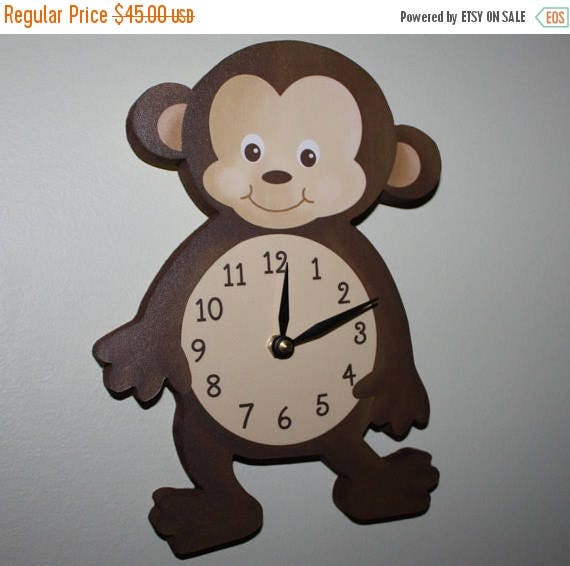 Spring SALE Monkey Wooden WALL CLOCK for Kids Bedroom Baby Nursery Wc0076