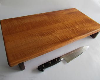 Beautiful CURLY MAPLE Reclaimed LONG Raised Cutting Board