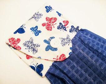 Hanging towel Oven door towel button top towel  butterflies red blue   print blue towel Quiltsy handmade