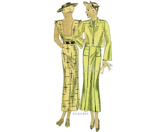 1930s Dress Pattern duBarry 946B, Straight Skirt, Sleeveless, Low Back, Cropped Jacket, Bust 36, Old Hollywood Dress Vintage Sewing Pattern