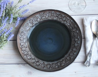 Set of Four Modern Rustic Ceramic Dinner Plates in Charcoal Grey and Black Glaze Handmade Stoneware Dishes Ready to Ship Made in USA