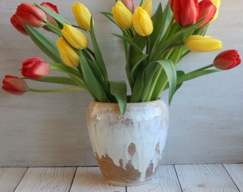 Ceramic Vase with Dripping White and Ocher Glaze Handcrafted Pottery Vase or Kitchen Utensil Holder Made in USA Ready to Ship