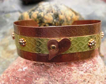 Mixed metal copper and nugold heart  cuff bracelet
