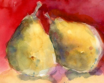 Two Pears - red background  - Original Art or Print