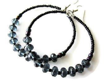 Large Dark Grey Blue Glass Beaded Hoop Earrings | Hippie Boho Style Dangle Earrings | Big Statement Jewellery  for Women