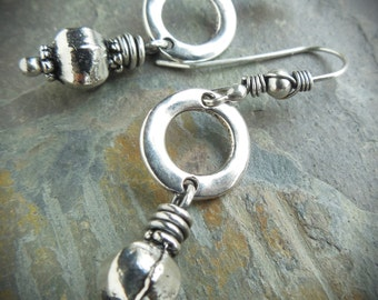 Silver Bali Style Pod Earrings