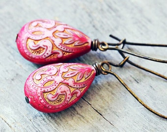 Bright Pink Western Teardrop Earrings, Antiqued Bronze